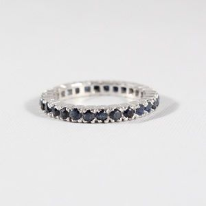 Jewelry - Sterling Silver Sapphire Eternity Band Ring 6.25